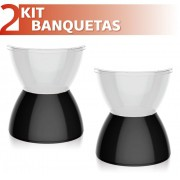 KIT 2 BANQUETAS HYDRO ASSENTO CRISTAL BASE COLOR PRETO