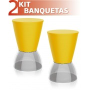 KIT 2 BANQUETAS NICK ASSENTO COLOR BASE CRISTAL AMARELO
