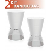 KIT 2 BANQUETAS NICK ASSENTO COLOR BASE CRISTAL BRANCO