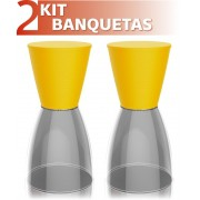 KIT 2 BANQUETAS NOBE ASSENTO COLOR BASE CRISTAL AMARELO