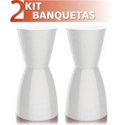 KIT 2 BANQUETAS NOBE COLOR BRANCO