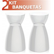 KIT 2 BANQUETAS RAD ASSENTO COLOR BASE CRISTAL BRANCO