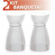 KIT 2 BANQUETAS RAD ASSENTO COLOR BASE CRISTAL CRISTAL