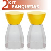KIT 2 BANQUETAS RAD ASSENTO CRISTAL BASE COLOR AMARELO