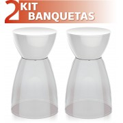 KIT 2 BANQUETAS RAD ASSENTO CRISTAL BASE COLOR BRANCO