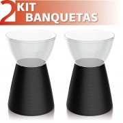 KIT 2 BANQUETAS SILI ASSENTO CRISTAL BASE COLOR PRETO