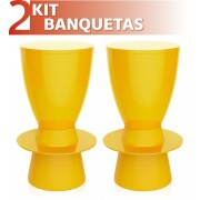 KIT 2 BANQUETAS TIN COLOR AMARELO