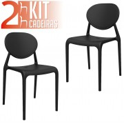Kit 2 Cadeiras Slick preto