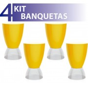 KIT 4 BANQUETAS ARGO ASSENTO COLOR BASE CRISTAL AMARELO