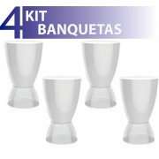 KIT 4 BANQUETAS ARGO ASSENTO COLOR BASE CRISTAL BRANCO