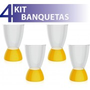 KIT 4 BANQUETAS ARGO ASSENTO CRISTAL BASE COLOR AMARELO