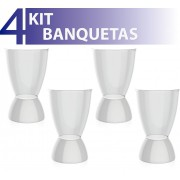 KIT 4 BANQUETAS ARGO ASSENTO CRISTAL BASE COLOR BRANCO