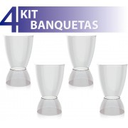 KIT 4 BANQUETAS ARGO ASSENTO CRISTAL BASE COLOR CRISTAL