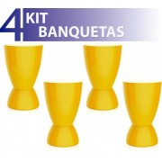 KIT 4 BANQUETAS ARGO COLOR AMARELO
