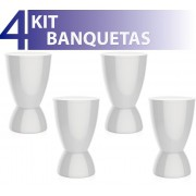 KIT 4 BANQUETAS ARGO COLOR BRANCO