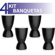 KIT 4 BANQUETAS ARGO COLOR PRETO