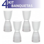KIT 4 BANQUETAS BERY ASSENTO CRISTAL BASE COLOR CRISTAL