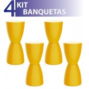 KIT 4 BANQUETAS BERY COLOR AMARELO