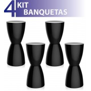 KIT 4 BANQUETAS BERY COLOR PRETO