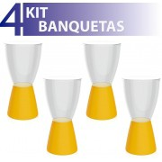 KIT 4 BANQUETAS CARBO ASSENTO CRISTAL BASE COLOR AMARELO