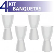 KIT 4 BANQUETAS CARBO ASSENTO CRISTAL BASE COLOR BRANCO