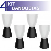 KIT 4 BANQUETAS CARBO ASSENTO CRISTAL BASE COLOR PRETO