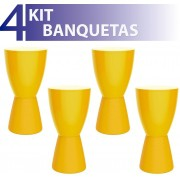 KIT 4 BANQUETAS CARBO COLOR AMARELO