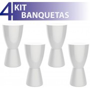 KIT 4 BANQUETAS CARBO COLOR BRANCO