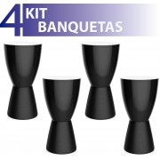 KIT 4 BANQUETAS CARBO COLOR PRETO