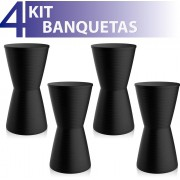 KIT 4 BANQUETAS DUB COLOR PRETO