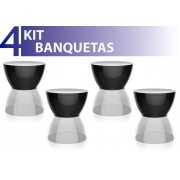 KIT 4 BANQUETAS HYDRO ASSENTO COLOR BASE CRISTAL PRETO