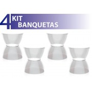 KIT 4 BANQUETAS HYDRO ASSENTO CRISTAL BASE COLOR CRISTAL