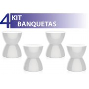 KIT 4 BANQUETAS HYDRO COLOR BRANCO