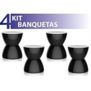 KIT 4 BANQUETAS HYDRO COLOR PRETO