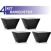 KIT 4 BANQUETAS NEO COLOR PRETO