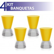 KIT 4 BANQUETAS NICK ASSENTO COLOR BASE CRISTAL AMARELO