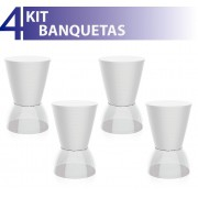 KIT 4 BANQUETAS NICK ASSENTO COLOR BASE CRISTAL BRANCO