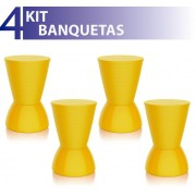 KIT 4 BANQUETAS NICK COLOR AMARELO