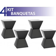 KIT 4 BANQUETAS NITRO COLOR PRETO