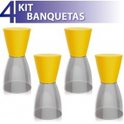 KIT 4 BANQUETAS NOBE ASSENTO COLOR BASE CRISTAL AMARELO