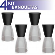 KIT 4 BANQUETAS NOBE ASSENTO COLOR BASE CRISTAL PRETO