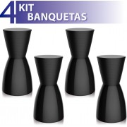 KIT 4 BANQUETAS NOBE COLOR PRETO