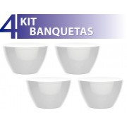 KIT 4 BANQUETAS OXY COLOR BRANCO