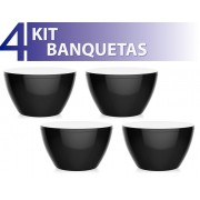 KIT 4 BANQUETAS OXY COLOR PRETO