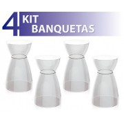 KIT 4 BANQUETAS RAD ASSENTO COLOR BASE CRISTAL CRISTAL