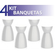 KIT 4 BANQUETAS RAD COLOR BRANCO