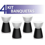 KIT 4 BANQUETAS SILI ASSENTO CRISTAL BASE COLOR PRETO