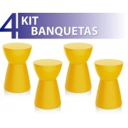 KIT 4 BANQUETAS SILI COLOR AMARELO