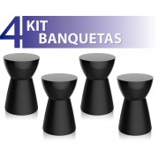 KIT 4 BANQUETAS SILI COLOR PRETO