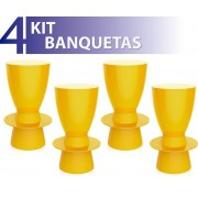 KIT 4 BANQUETAS TIN COLOR AMARELO